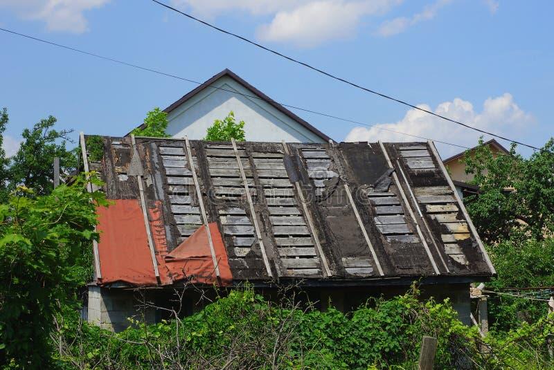 oud houten geruïneerd die schuurdak met groene vegetatie wordt overwoekerd stock fotografie