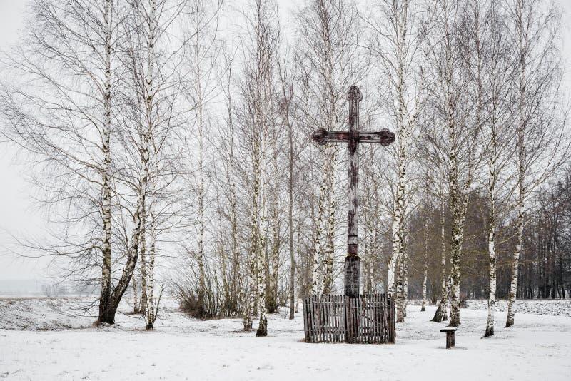 Oud houten kruis in een klein park van berken in de winter stock afbeelding