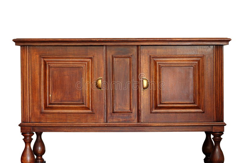 Oud houten meubilair over wit stock foto