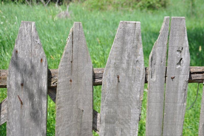 Oud houten omheining en gras op achtergrond stock foto's