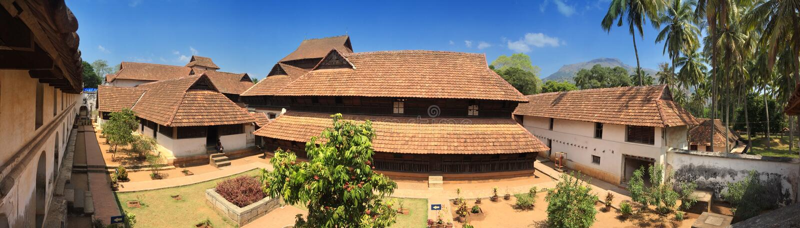 Oud houten paleis Padmanabhapuram van de maharadja in Trivandrum royalty-vrije stock afbeeldingen