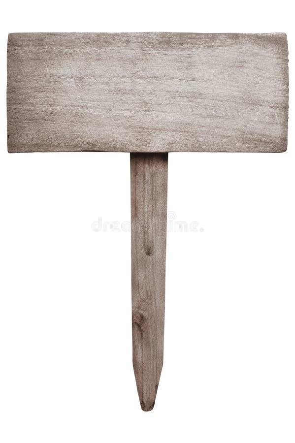 Oud houten teken in natuurlijk die patroon op wit met het knippen van weg wordt geïsoleerd stock afbeelding