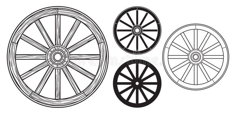 Oud houten wiel royalty-vrije illustratie
