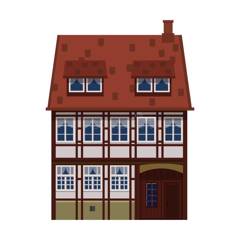Oud huis, huis, de bouw, voorgevel, Europa, middeleeuwse traditie Europese architecturale stijl Vector illustratie royalty-vrije illustratie