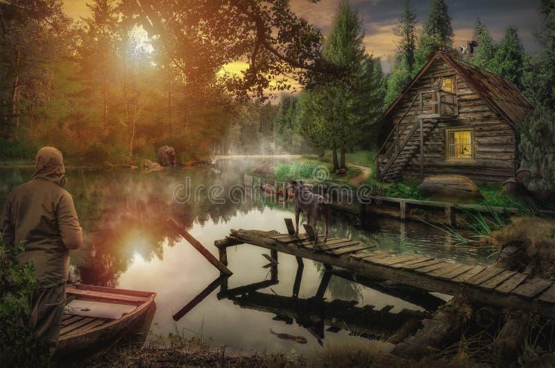 Oud huis door de rivier stock fotografie