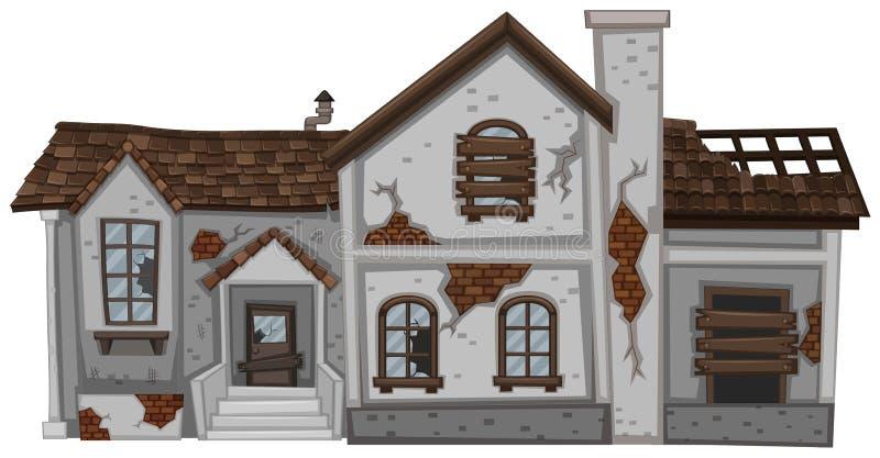 Oud huis met bruin dak stock illustratie