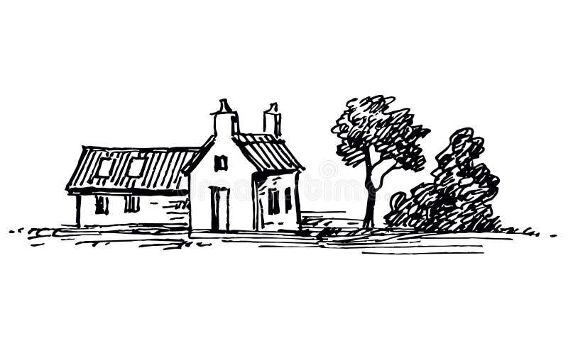 Oud Huis met Witte Blinden royalty-vrije illustratie