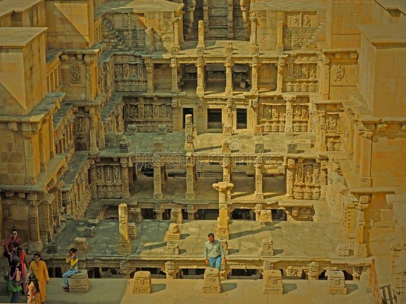 Oud India stepwell in de staat van Gujarat, India stock fotografie