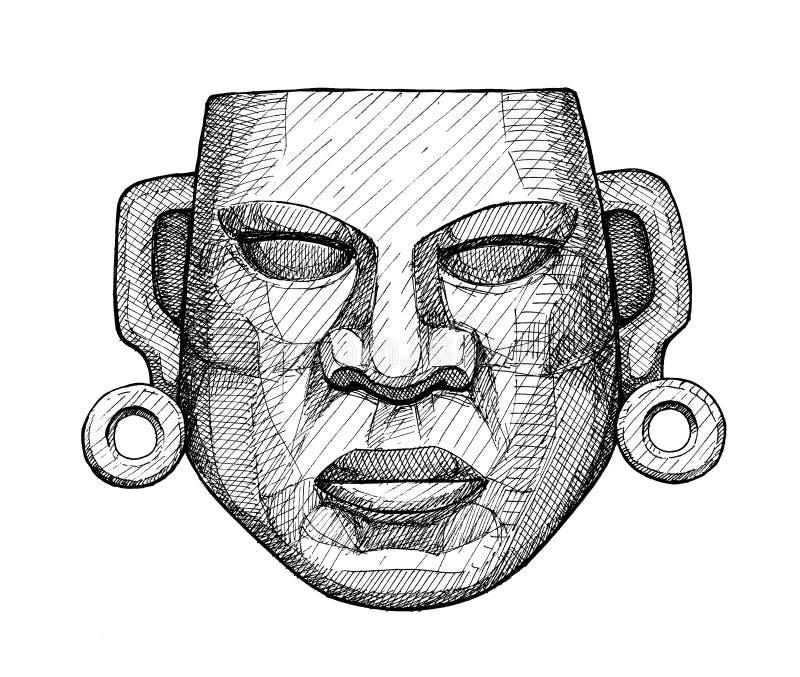 Oud jade Mexicaans masker, uitstekende handtekening stock illustratie
