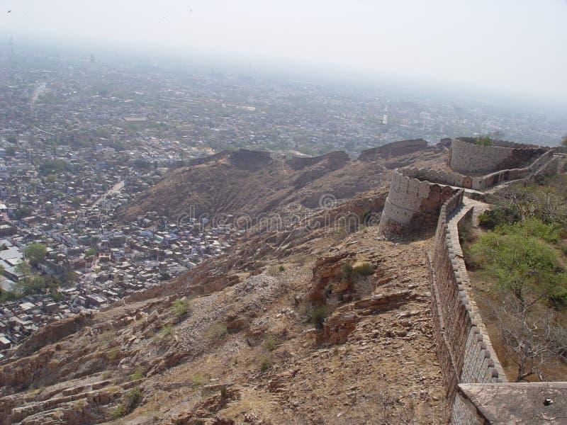 Oud Jaipur van daken van het fort van de Tijger stock afbeeldingen