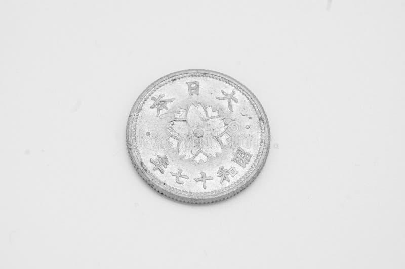 Oud Japans muntstuk van 10 sen stock foto's