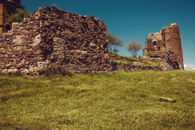 Oud Jvari-Klooster, Mtskheta Beroemd historisch monument Reis naar Georgi? Georgische Architectuur De achtergrond van de godsdien royalty-vrije stock foto