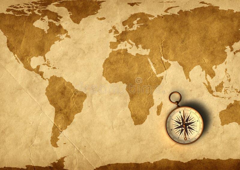 Oud kaart en kompas royalty-vrije illustratie