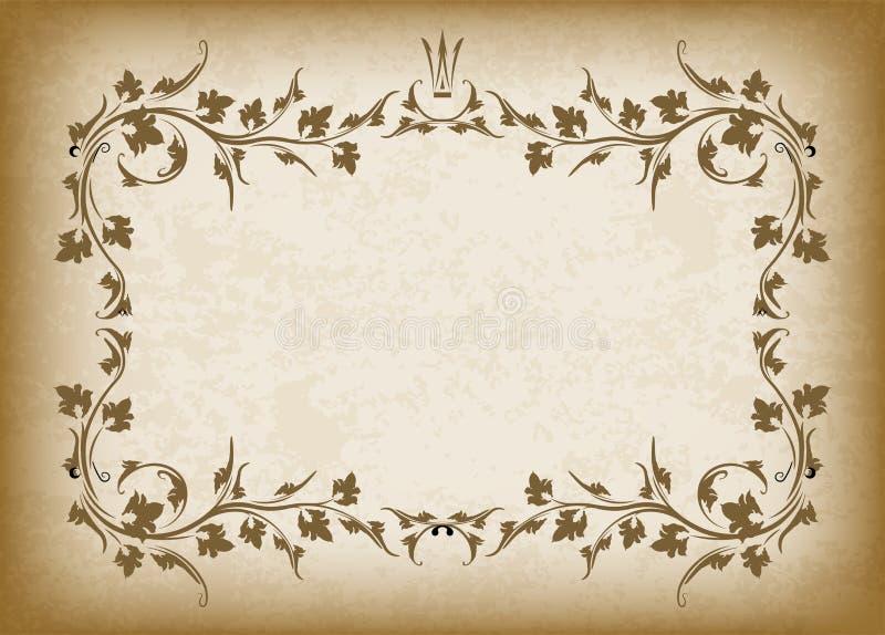 Oud kader met kroon op de achtergrond van de grungestijl met lege ruimte voor tekst Retro uitstekende groetkaart of uitnodiging stock illustratie