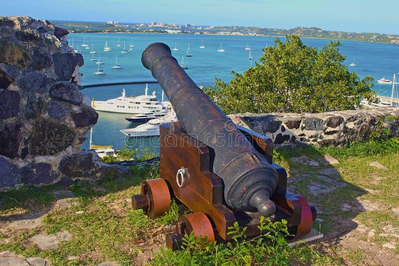 Oud Kanon in Marigot, St Maarten royalty-vrije stock foto's