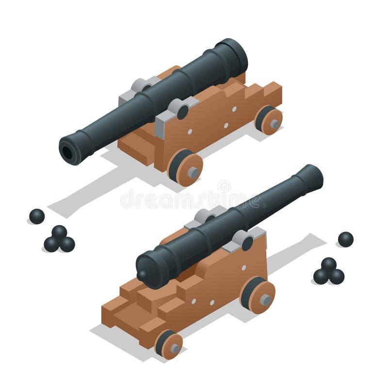 Oud kanon met kanonskogels Artilleriekanon Oude kanon Vlakke 3d vector isometrische illustratie stock illustratie