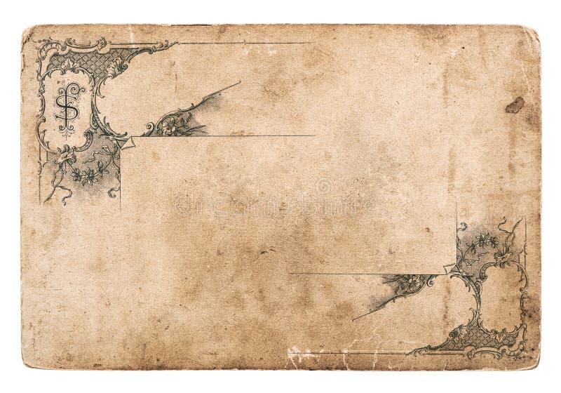 Oud karton met antiek geïsoleerd patroon stock fotografie