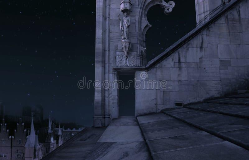 Oud kasteel bij nacht stock afbeelding