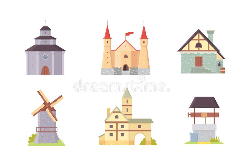Oud kasteel, het paleis die van Europa vectorillustraties bouwen Middeleeuwse historische gebouwen, architectuurtorens en oude st vector illustratie
