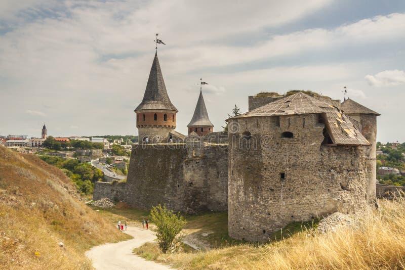 Kasteel in Kamianets Podilskyi, de Oekraïne, Europa. stock fotografie