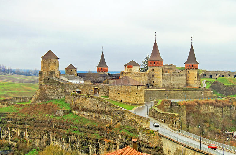 Oud Kasteel in kamyanets-Podilsky, de Oekraïne stock fotografie