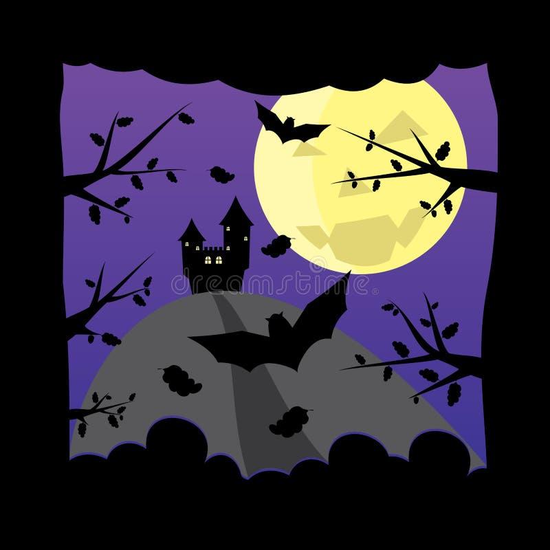 Oud Kasteel Op Donkere NachtHalloween Maanachtergrond Stock Afbeelding