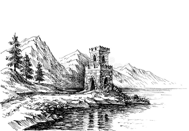 Oud kasteel op een landschap van de rivierbank stock illustratie
