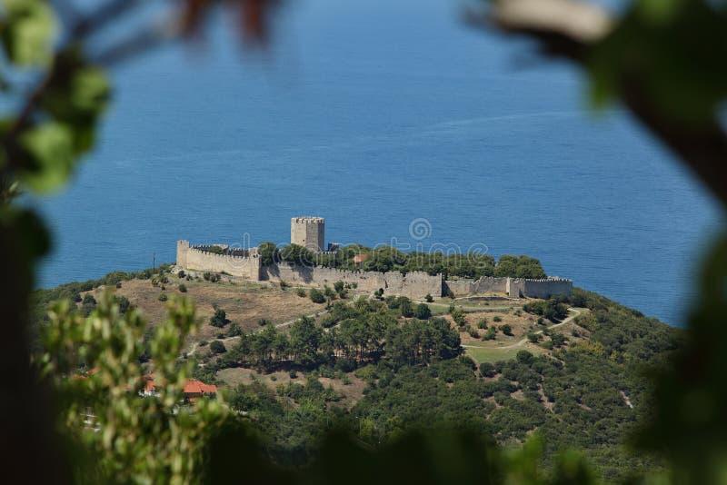 Oud kasteel in Platamon of Platamonas Griekenland royalty-vrije stock foto's