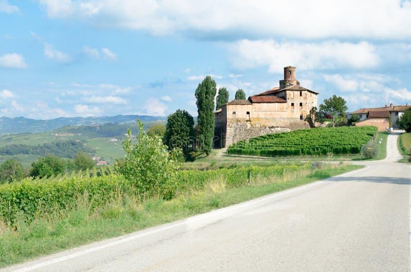 Oud Kasteel van La Volta, Barolo in Italië in Langhe wineyard royalty-vrije stock afbeelding
