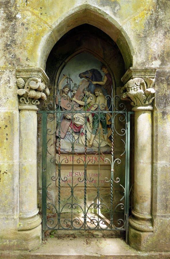 Oud katholiek heiligdom, Rocamadour, Frankrijk stock foto's