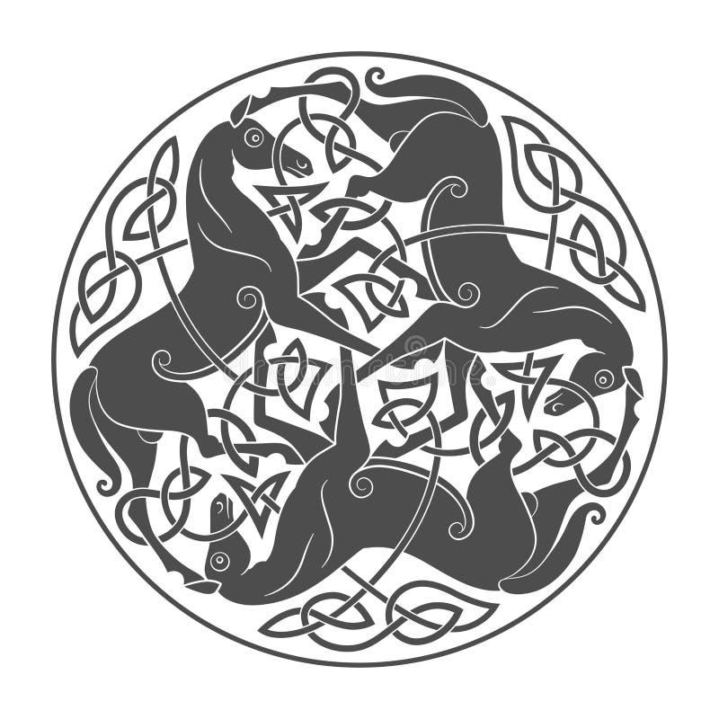 Oud Keltisch mythologisch symbool van paarddrievuldigheid stock illustratie