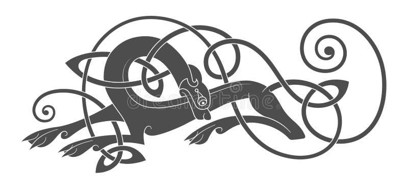 Oud Keltisch mythologisch symbool van wolf, hond, dier stock illustratie
