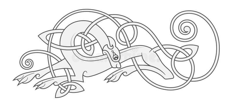 Oud Keltisch mythologisch symbool van wolf, hond, dier royalty-vrije illustratie