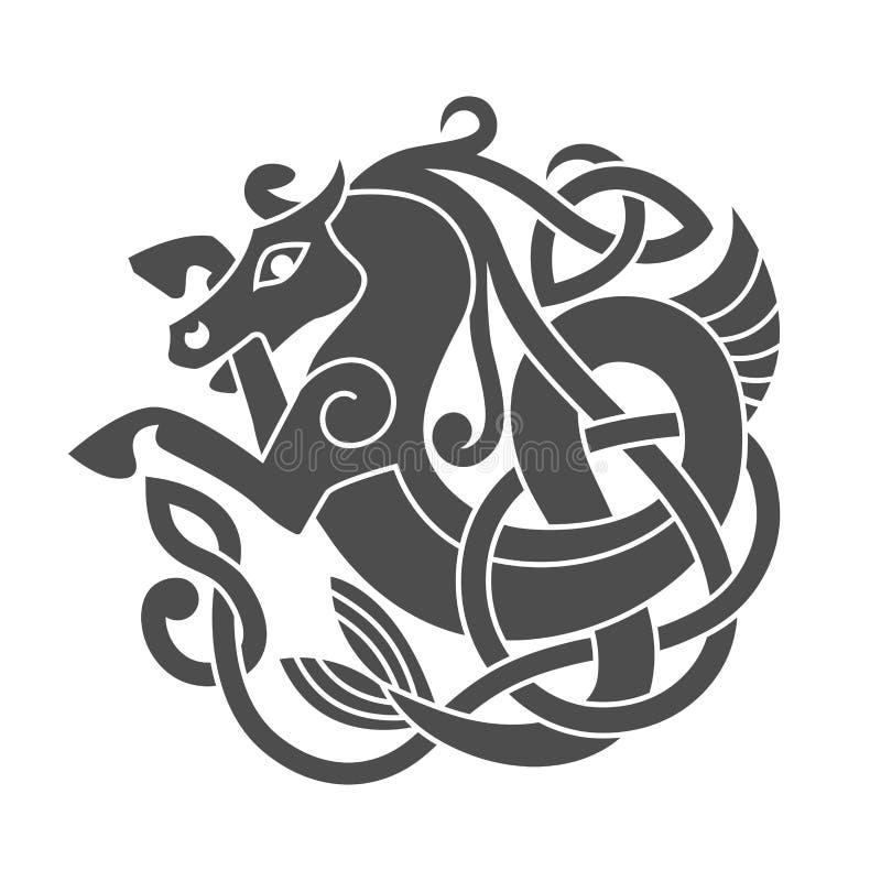 Oud Keltisch mythologisch symbool van zeepaardje stock illustratie