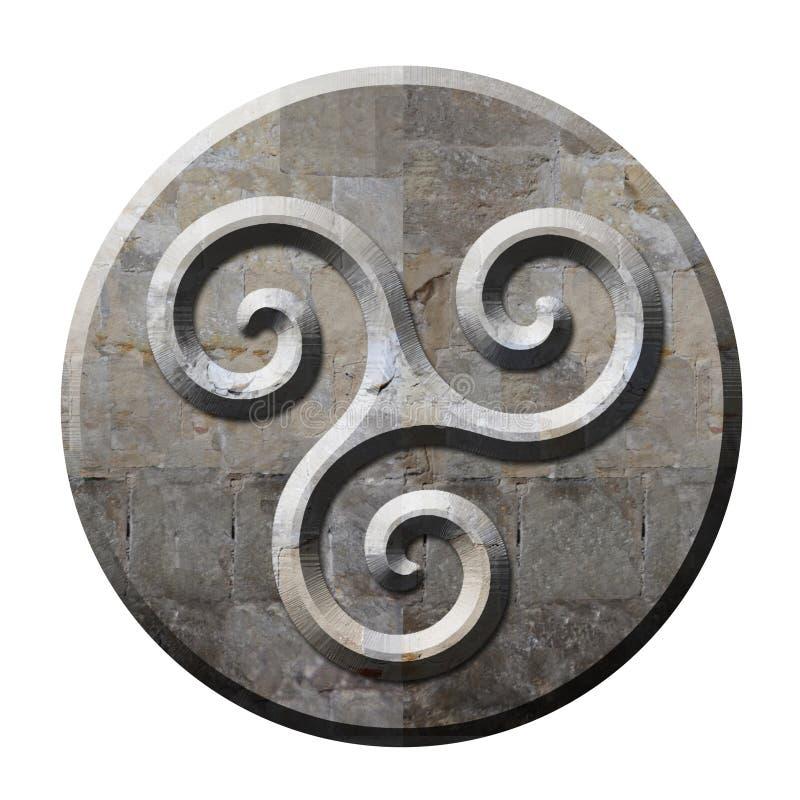 Oud Keltisch triskelesymbool in steen stock illustratie