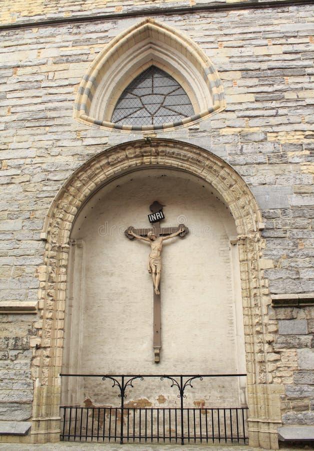 Oud kerkkruisbeeld stock afbeeldingen