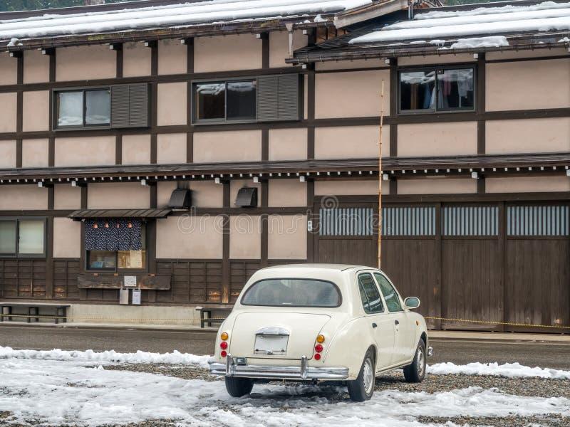Oud klassiek parkeerterrein in Shirakawa, Japan royalty-vrije stock foto