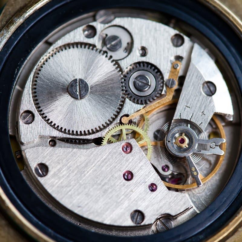 Oud klokmechanisme met toestellen Close-up royalty-vrije stock afbeelding