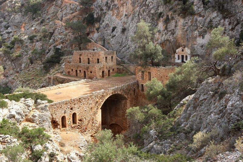 Oud klooster met brug stock afbeelding