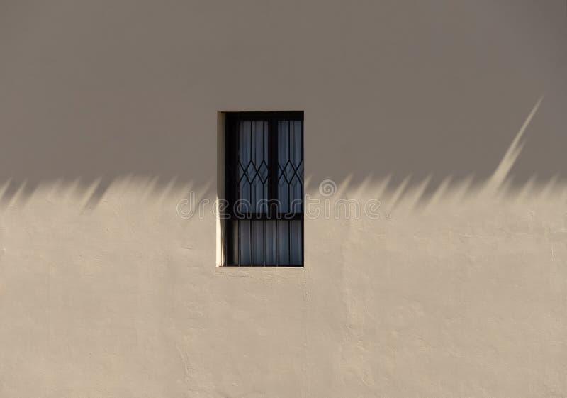 Oud koloniaal venster op een in de schaduw gestelde muur royalty-vrije stock afbeeldingen