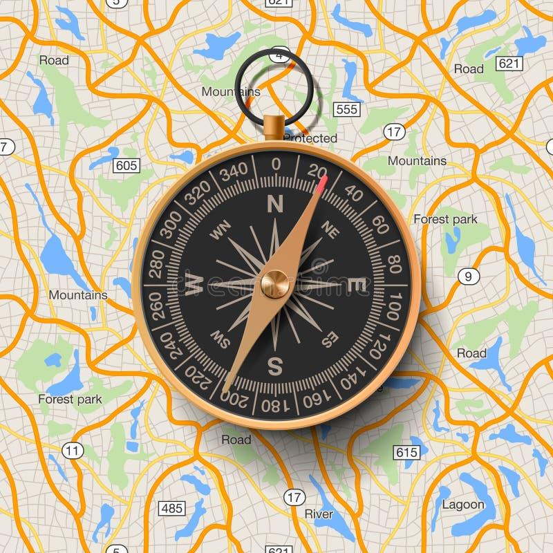 Oud kompas op kaartachtergrond stock illustratie