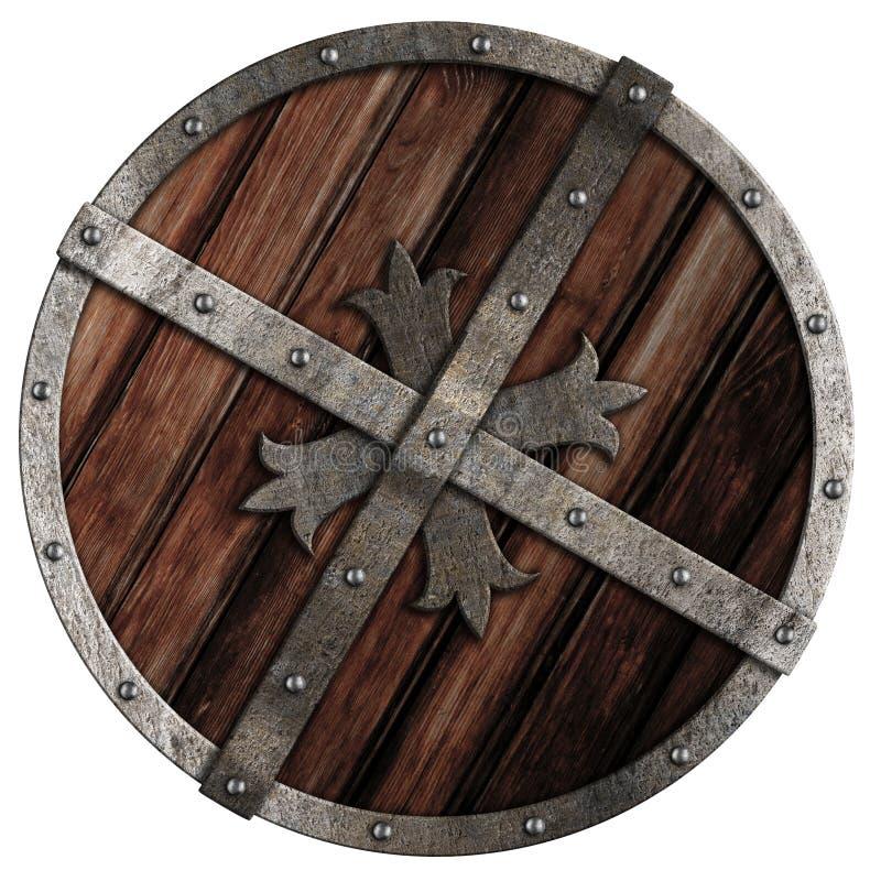 Oud kruisvaarder houten schild met metaalgrens vector illustratie