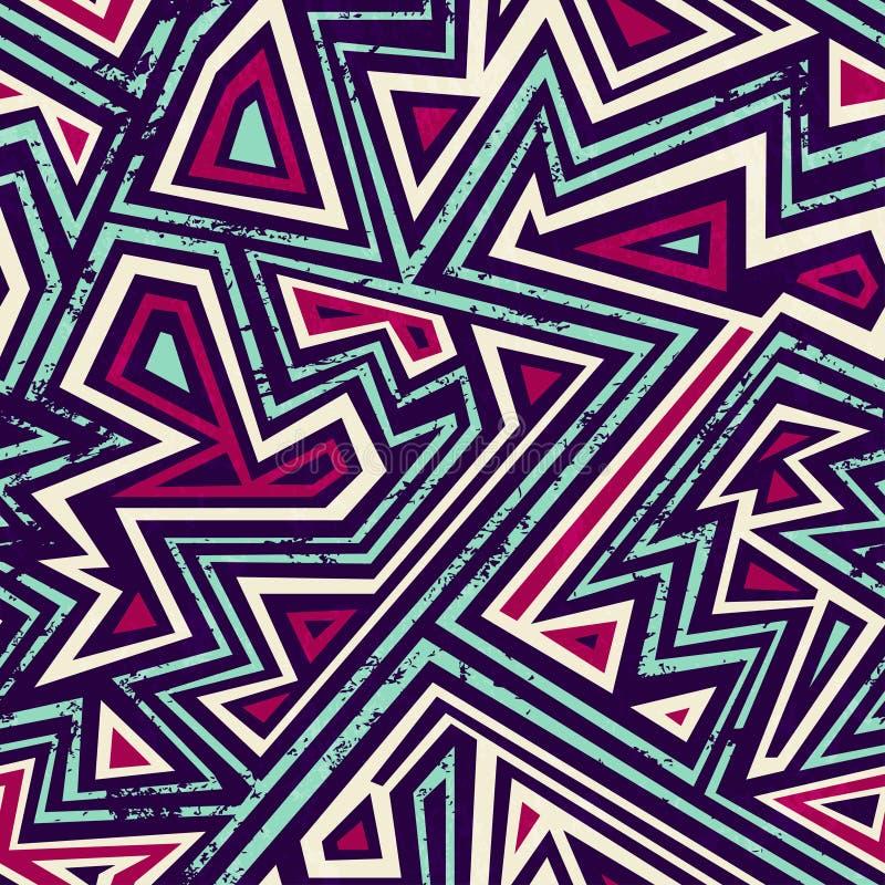Oud labyrint naadloos patroon met grungeeffect royalty-vrije illustratie
