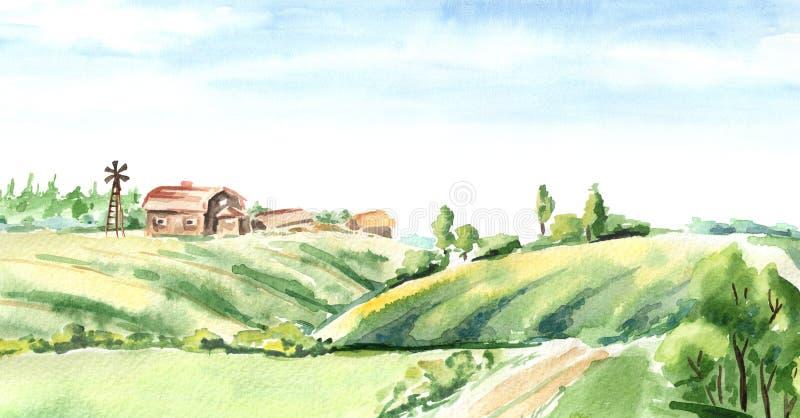 Oud landbouwbedrijf in landelijk landschap Waterverfhand getrokken horizontale illustratie stock illustratie