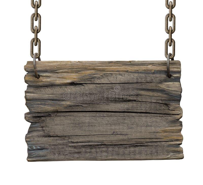 Oud leeg herberg middeleeuws houten uithangbord royalty-vrije stock foto
