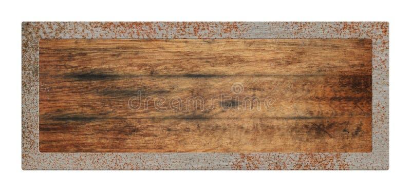 Oud leeg houten teken met geïsoleerde metaalgrens royalty-vrije stock foto's