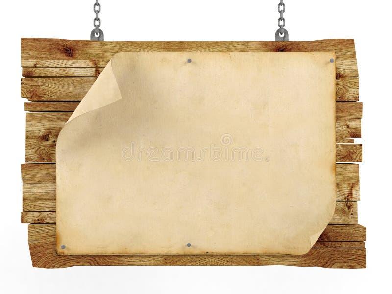 Oud leeg uitstekend document bij het hangen van houten teken stock foto's