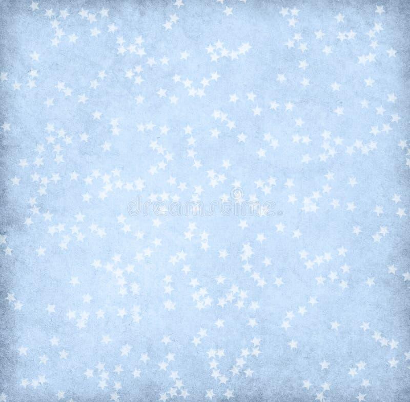 Oud lichtblauw die document met sterren wordt verfraaid Uitstekende achtergrond stock afbeelding