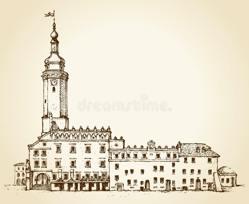 Oud Lviv-stadhuis Vector cityscape vector illustratie