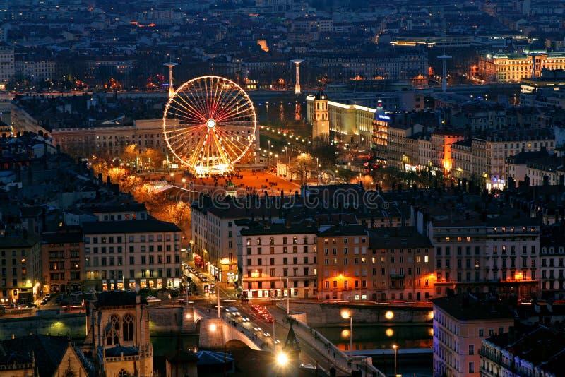 Oud Lyon bij nacht royalty-vrije stock fotografie